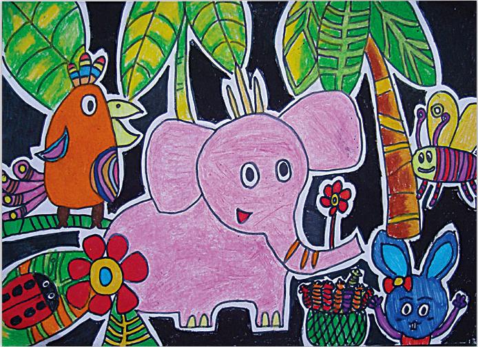 小学风景动物绘画