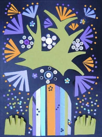 布艺拼贴画动物图形拼贴画森林图形拼贴画鸭子马赛克拼贴画动物小动物