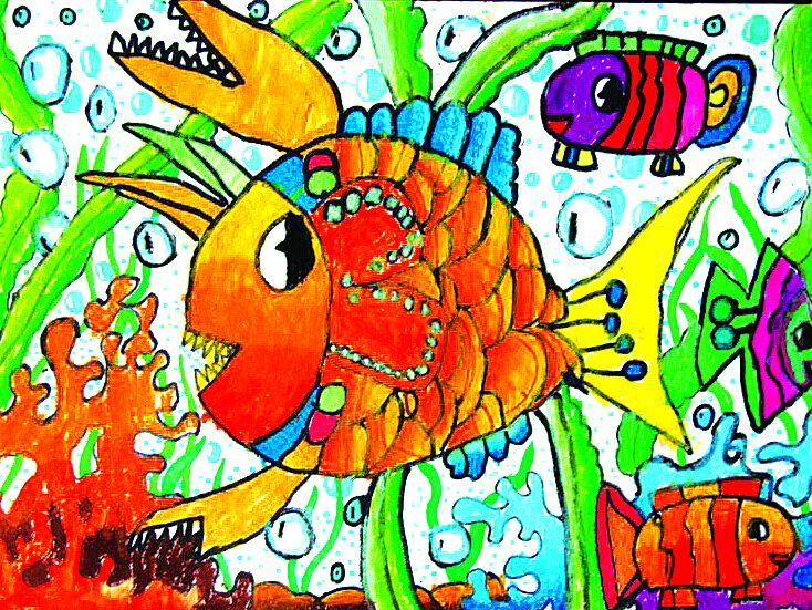 海洋儿童画一等奖