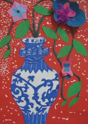 青花瓷瓶花