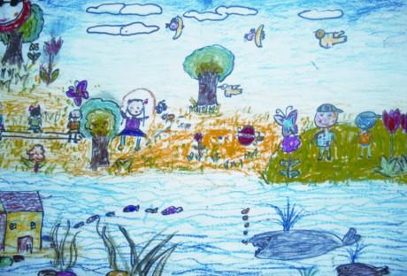 的童年 水彩加油画棒画   射阳县长 海门市天补中心小学   六年级   陆