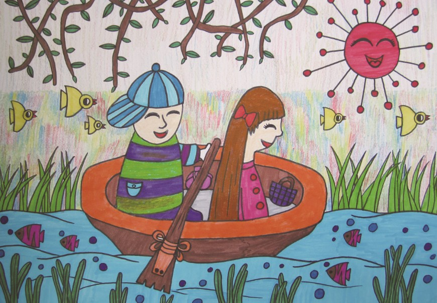 划船儿童画简笔画